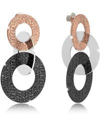 Rebecca - R-zero Black Rhodium And Rose Gold Over Bronze Stud Drop Earrings - Lyst
