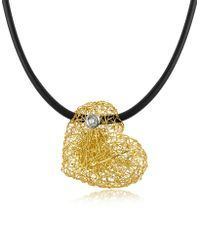 Orlando Orlandini - Arianna - Small Diamond Heart Pendant W/rubber Lace - Lyst