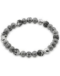 Thomas Sabo Blackened 925 Sterling Silver Cross And Skulls Bracelet W/zirconia - Metallic