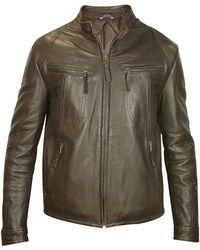 Forzieri   Men's Dark Brown Genuine Leather Motorcycle Jacket   Lyst