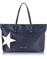 Armani Jeans | Dark Navy Eco Leather Tote W/star | Lyst