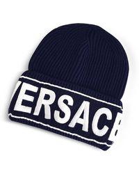 Versace   Manifesto Navy Blue Wool Knit Hat   Lyst