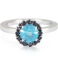 FORZIERI - 0.27 Ct Diamond Pave 18k White Gold Ring W/blue Topaz - Lyst