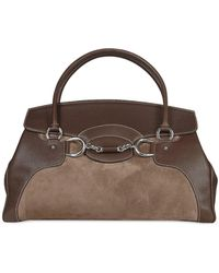 Buti Dark Brown Classic Suede And Leather Satchel Handbag Lyst