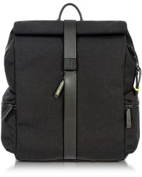 Bric's - Black Nylon And Leather Rolltop Backpack - Lyst