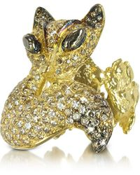 Bernard Delettrez - Gold And Cognac Diamonds Fox Ring - Lyst