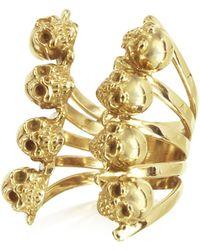 Bernard Delettrez - Golden Skulls Bronze Ring - Lyst