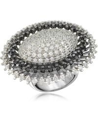 Azhar - Black And White Sterling Silver Oval Ring - Lyst