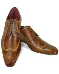 Fratelli Borgioli - Handmade Light Brown Italian Leather Wingtip Dress Shoes - Lyst