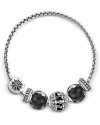 Thomas Sabo - Blackened Sterling Silver Bracelet W/obsidian And Onyx Beads - Lyst