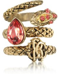 Roberto Cavalli - Goldtone Metal Triple Ring W/red Crystals - Lyst