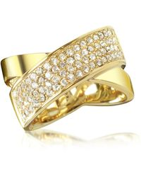 Michael Kors - Golden Brass And Crystal Pave Women's Ring - Lyst