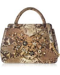 Ghibli - Jeweled Python Leather Top Handle Satchel Bag - Lyst