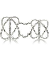 Bernard Delettrez - 18k White Gold Criss Cross Articulated Ring W/diamonds Pave - Lyst