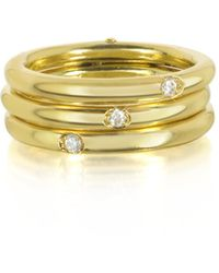 Bernard Delettrez - 9k Gold Triple Secret Ring W/diamonds - Lyst