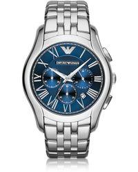 Emporio Armani - New Valente Silver Tone Stainless Steel Men's Watch - Lyst