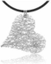 Orlando Orlandini - Diamond 18k White Gold Heart Pendant W/lace - Lyst