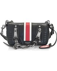 Moschino - Black Quilted Leather Small Shoulder Bag W/red Band - Lyst