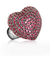 Azhar - Sterling Silver And Cubic Zirconia Big Heart Ring - Lyst