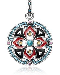Thomas Sabo - Black And Red Enamelled Sterling Silver Round Pendant W/synthetic Turquoise And Red Corundum - Lyst
