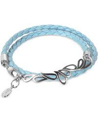 Sho London - Mari Friendship - Sterling Silver & Leather Double Bracelet - Lyst