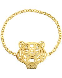 KENZO - Gold Plated Mini Tiger Ring - Lyst