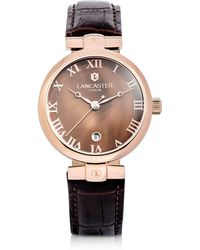 Lancaster - Chimaera Rose Gold Stainless Steel And Brown Croco Leather Watch - Lyst
