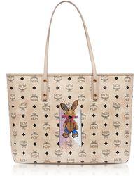 MCM - Visetos Studded Rabbit Beige Top Zip Medium Tote Bag - Lyst