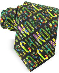 Moschino - Black & Multicolour Signature Print Twill Silk Narrow Tie - Lyst