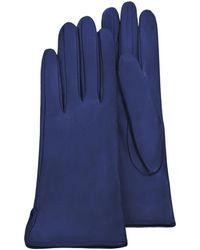 FORZIERI Damen-Handschuhe aus blauem Leder mit Futter aus Seide