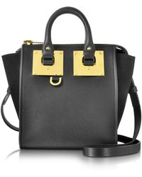 Sophie Hulme | Black Leather And Suede Small Holmes North South Zip Tote | Lyst