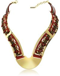 Pluma - Brass Woven Leather Necklace In Gold Burgundy And Brown - Lyst