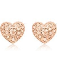 Fossil - Glitz Heart Rose Gold Tone Women's Earrings - Lyst