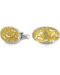 FORZIERI - Dandy - Floral Enamel And Metal Oval Cufflinks - Lyst
