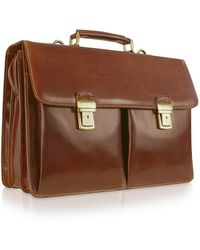 Chiarugi - Handmade Brown Genuine Italian Leather Briefcase - Lyst