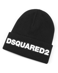 DSquared² - Embroidered Logo Signature Wool Knit Hat - Lyst