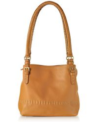 Fontanelli - Tan Brown Stiched Soft Leather Handbag - Lyst