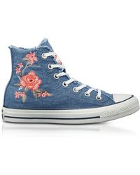 Converse | Chuck Taylor All Star High Denim Frayed Flower Women's Trainers | Lyst