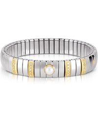 Nomination - Three Pearls Golden Stainless Steel Women's Bracelet W/cubic Zirconia - Lyst