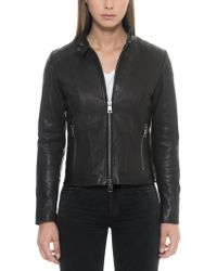 FORZIERI - Black Padded Leather Women's Zippered Jacket - Lyst