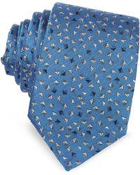Lanvin - Geometric Square Patterned Woven Silk Tie - Lyst