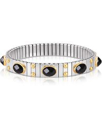Nomination - Small Black Cubic Zirconia Stainless Steel W/golden Studs Women's Bracelet - Lyst
