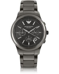 Emporio Armani - Renato - Polished Black Ceramic Watch - Lyst