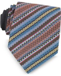 Missoni - Blue And Brown Diagonal Stripe And Geometric Woven Silk Tie - Lyst