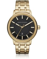 Armani Exchange Maddox Black Dial And Gold Tone Stainless Steel Men's Watch