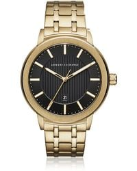 Armani Exchange - Maddox Black Dial And Gold Tone Stainless Steel Men's Watch - Lyst
