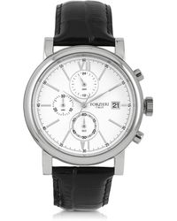 FORZIERI - Baviera Silver Tone Stainless Steel Case And Black Embossed Leather Men's Chrono Watch - Lyst