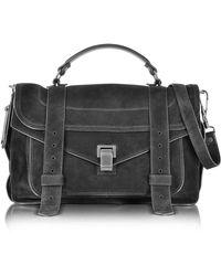 Proenza Schouler - Ps1 Medium Black Suede Satchel Bag - Lyst