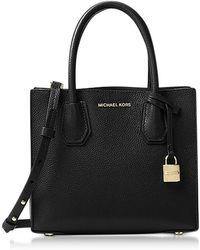 Michael Kors - Mercer Medium Black Pebble Leather Crossbody Bag - Lyst