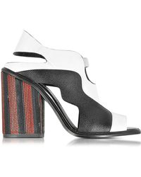 edb856231395 Pierre Hardy Lace-up Color-block Leather And Canvas Platform Sandals ...
